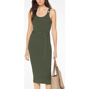 MICHAEL Michael Kors Dresses - Michael Michael Kors Belted Ribbed Knit Dress